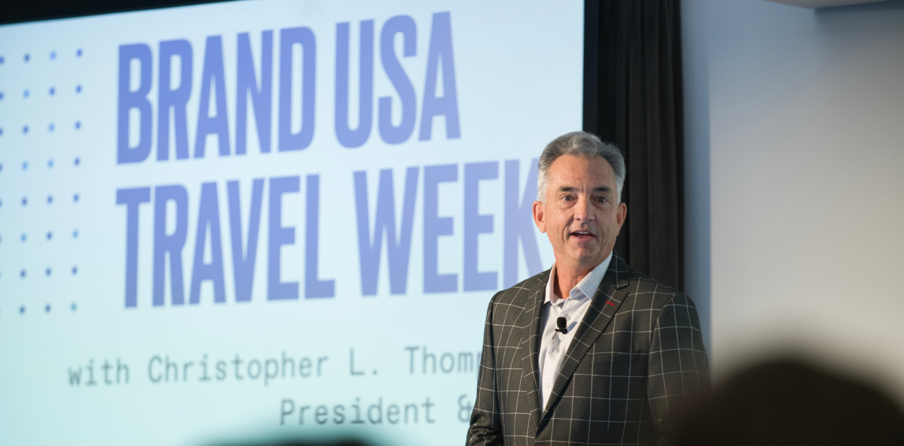 Christopher L. Thompson, presidente y CEO de Brand USA durante la sesión inaugural de Brand USA Travel Week Europe.